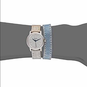 Nixon Kenzi Wrap Silver Dial Leather Strap Watch